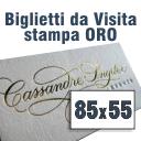Biglietti da Visita 85x55 Cartoncino Crema stampa ORO lucido a caldo